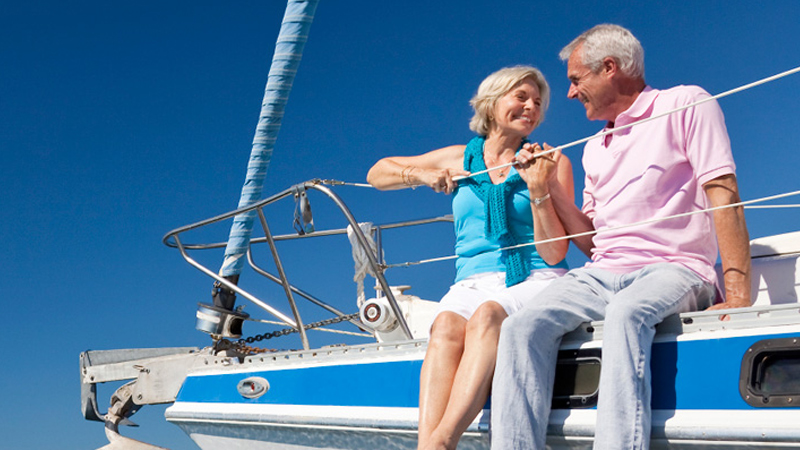Proton treatment patient and wife on a boat