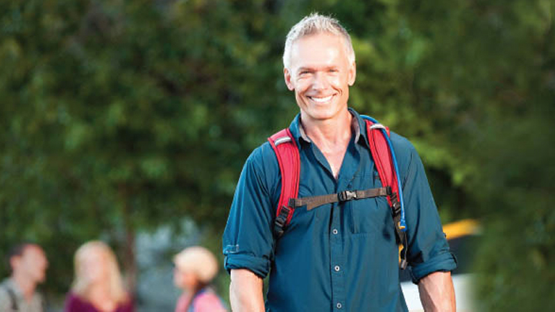 Proton therapy prostate cancer patient hiking